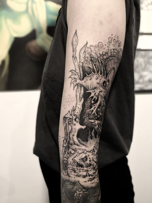 deep sea blackwork dark tattoo