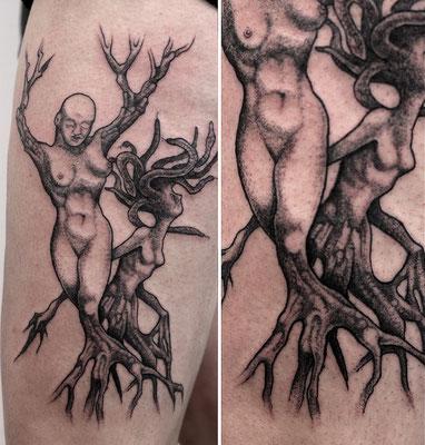 dark dotwork tattoo organic