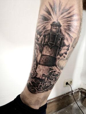 lighthouse tattoo black