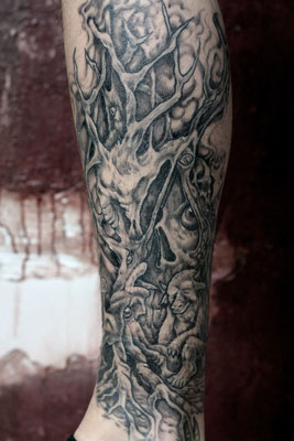 psychedelic  surreal forrest  tattoo