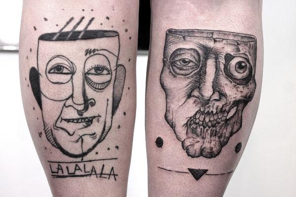dark trash face skull tattoo