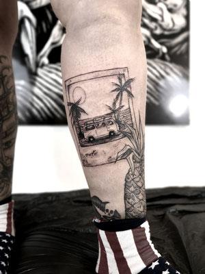 polaroid dotwork tattoo