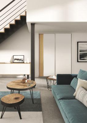 ©Coulidoor, porte de placard Ambre argent mat, modèle sillage spéciale traverse 15 mm avec décor chêne vicenza et perfect mat blanc mat