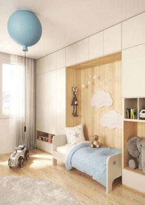 ©Coulidoor, Rangement pont blanc premium et acacia et lit blanc premium.