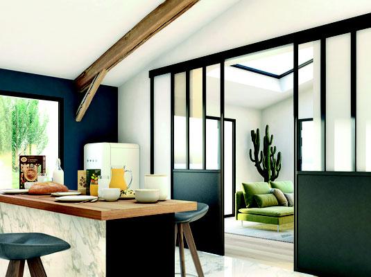 ©Ambiance Dressing, verrière coulissante noir mat, modèle duo montants 3 partitions
