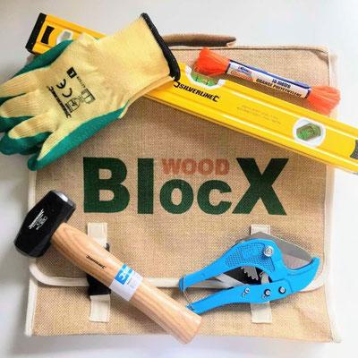 ©WoodBlocx, kit des outils pour la construction