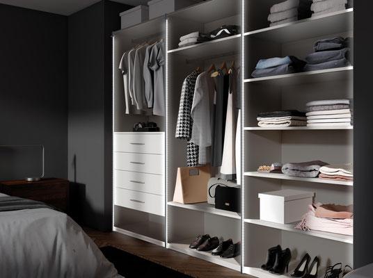 ©Coulidoor, dressing composable décor cachemire avec fond cachemire et Coulilight, l'éclairage pour dressing