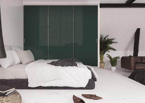 ©Coulidoor, Porte de placard Cézame argent mat, 3 vantaux vitre laquée cèdre, poignée cézame light.