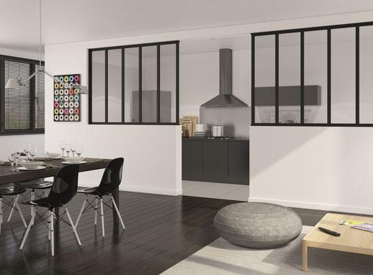 ©Ambiance Dressing, verrière fixe noir mat vitre feuilletée claire