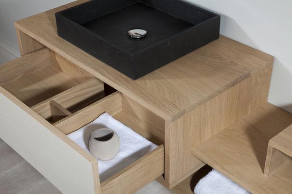 ©O'Design, meuble Scala, vasque noire, groupe Ottofond