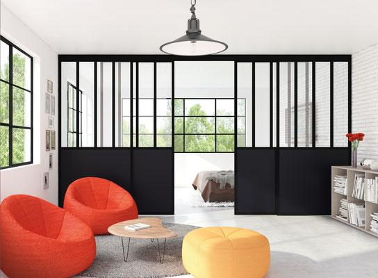 ©Ambiance Dressing, verrière coulissante noir mat, modèle duo, vitre feuilletée claire et panneau noir