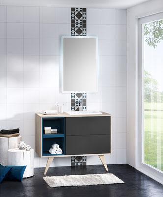©DISCAC,  salle de bain collection 2017 - MOSAIQUE - Chêne Flotté & Opale Anthracite