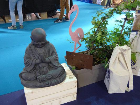 Foire de Paris 2018, Nortene Happy Buddha et Idfer étiquette de jardin Happiness