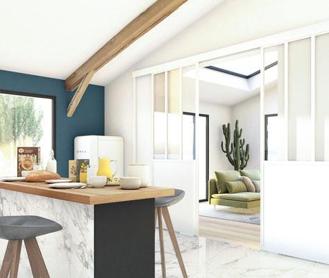 ©Ambiance Dressing, verrière coulissante blanc mat, modèle duo montants 3 partitions