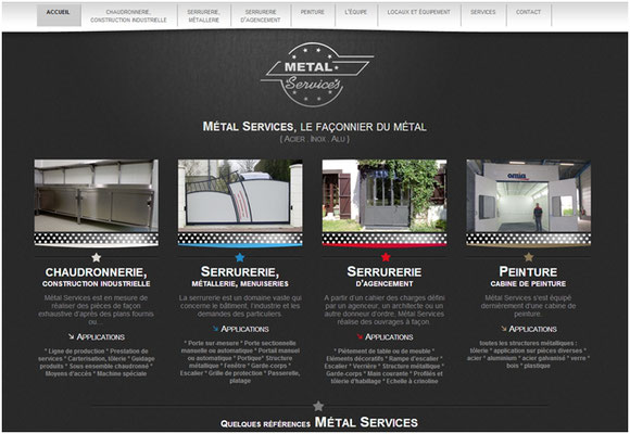 Métal Services,  site internet - onglet accueil - home page
