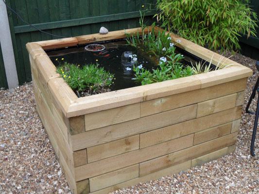 ©WoodBlocX, bassin en bois surélevé carré