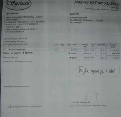 Rg. 3 - 265,00 Euro - Operation und 4 Wochen Klinikaufenthalt - 1.060 Zl.