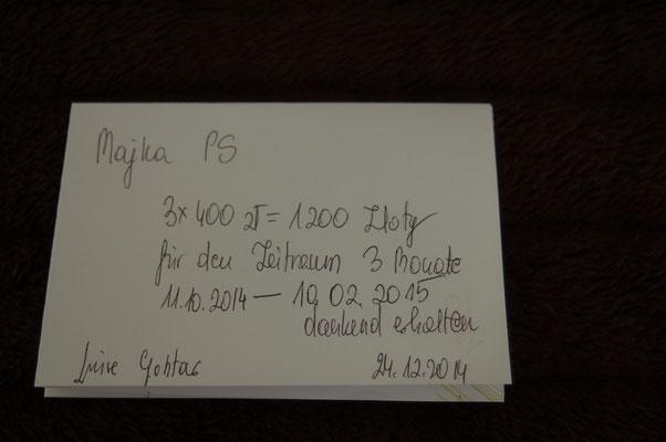 Rg. 4 - 300,00 Euro - Pflegestelle 100€/Monat bez. für 3 Mon. von 11.10.14 -10.02.15