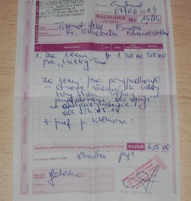 Rg. 07.06.2014 - 205 Zl. - 51,25 Euro Erstbehandlung im Mai vom TA in Szczytno