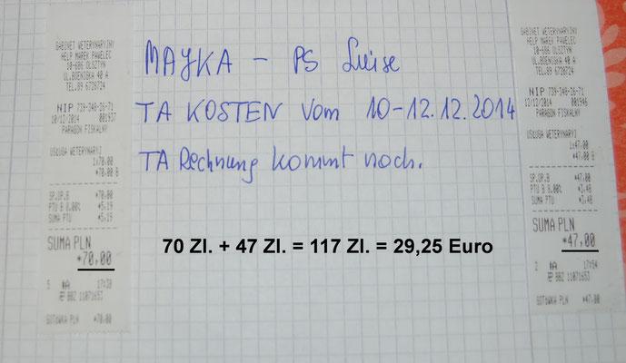 Rg. 5 -   29,25 Euro - Tierarztkosten 10.-12.12.2014