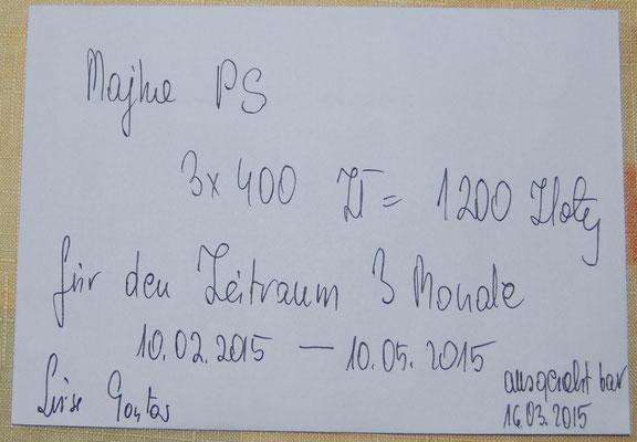 Rg. 6 - 300,00 Euro - Pflegestelle 100€/Monat bez. für 3 Mon. von 11.02.-10.05.15