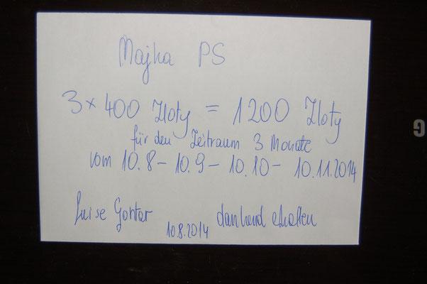 Rg. 2 - 300,00 Euro - Pflegestelle 100€/Monat bez. für 3 Mon. von 10.08.-10.11.2014