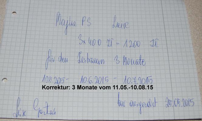 Rg. 7 - 300,00 Euro - Pflegestelle 100€/Monat bez. für 3 Mon. von 11.05.-10.08.15