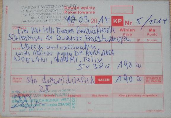 1 - 190 Zl. - Impfung 2015 TH - Anisa, Anca, Noelani, Naemi, Felix