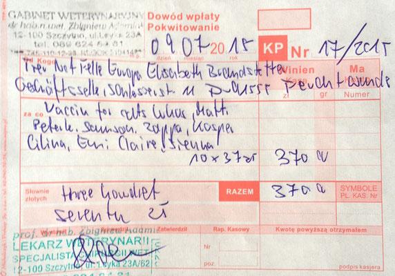 3 - 370 Zl. - 07.2015 - 10 Impfungen - Lukas, Matti, Peterle, Samson, Zappa, Kasper, Cilina, Emi, Claire, Sienna