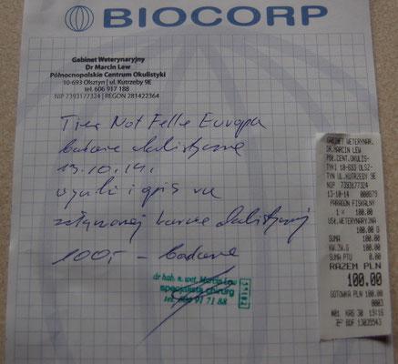 Rg. 2 - Dr. Marcin Lew - 100 Zloty - 25 Euro - Augenuntersuchung