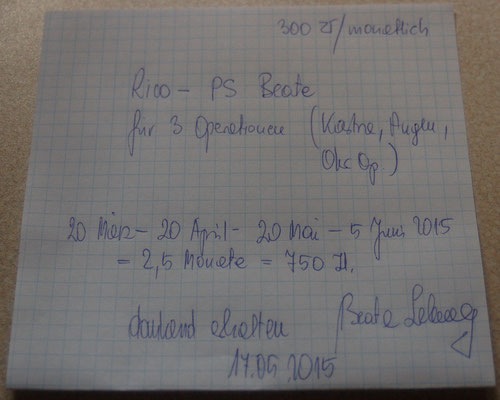 Rg. 3 - Pflegestelle Rico  20. März - 4. Juni  - 750 Zl.