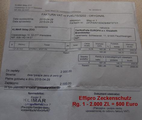 Effipro Zeckenschutz Rg. 1 - 2.000 Zl. = 500 Euro - April 2015