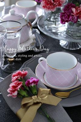 ポーセラーツ 母の日 テーブルコーディネート