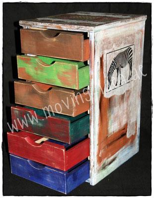 Shabby Chic Schubladenschrank mit bunten Schubladen Handarbeit