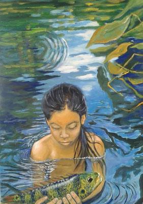 Das Mädchen mit dem Fisch 70x90