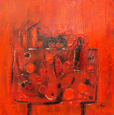 La table rouge, 80 x 80