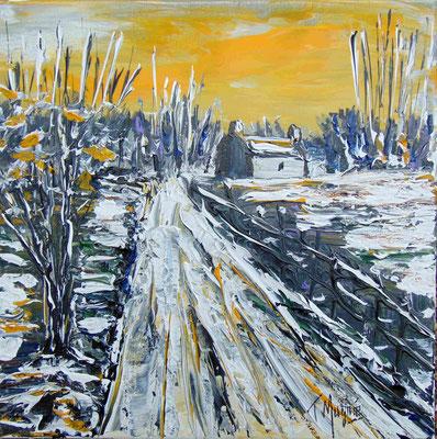 Chemin hivernal, 40 x 40, acrylique sur toile.