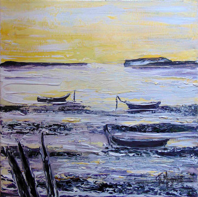Barques au crépuscule, 40 x 40, acrylique sur toile.