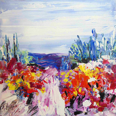 Vignes,50 x 50, acrylique sur toile.