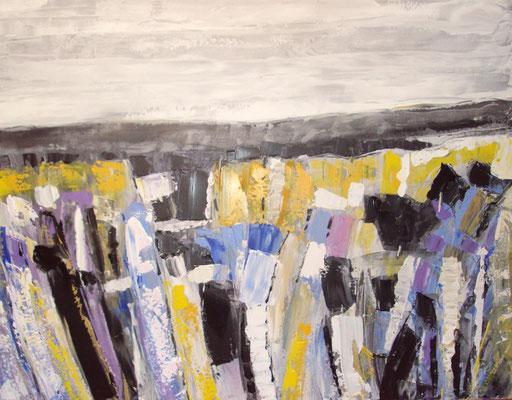 Germes de froidure, 113 x 97, mars 2015, acrylique sur toile, vendue, collection particulière