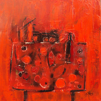 Table rouge, 80 x 80.