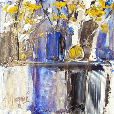 Ikebana Blue 9, 20 x 20, vendue, collection particulière