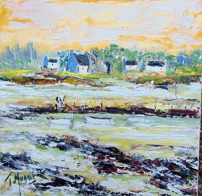 Golfe du Morbihan, 40 x 40, acrylique sur toile, vendue.