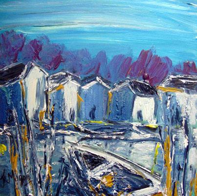 Barques au repos, 40 x 40, acrylique sur toile.