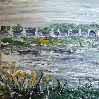 Vers Carnac, 50 x 50, acrylique sur toile.