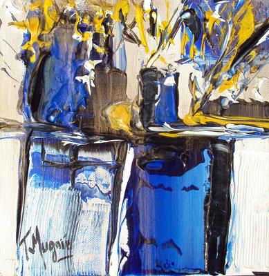 Ikebana Blue3, 20 x 20, vendue, collection particulière