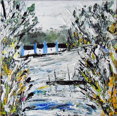 La rivière gelée, 60 x 60, acrylique sur toile