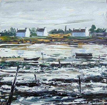 Les barques noires, 40 x 40, acrylique sur toile. vendue.
