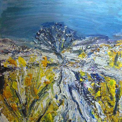 Neige au printemps, 50 x 50, acrylique sur toile.