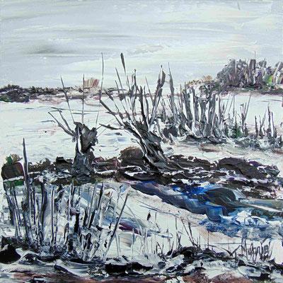 Bouleaux en Bourgogne, 40 x 40, acrylique sur toile.